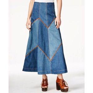 Free People | Denim Bliss Patchwork Maxi Skirt
